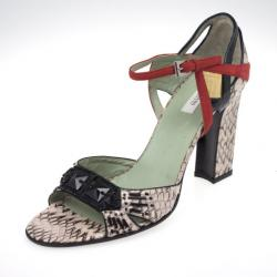 Prada Pink Python Embossed Sandals Size 38