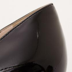 Prada Black Patent Leather Peep Toe Cork Wedges Size 38.5