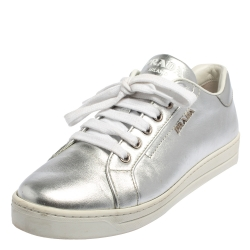 Prada Metallic Silver Leather Low Top Sneakers Size 37