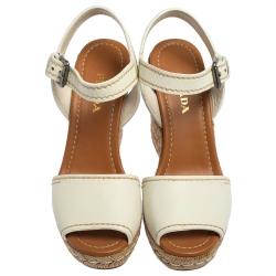 Prada White Leather Espadrille Wedge Sandals Size 40