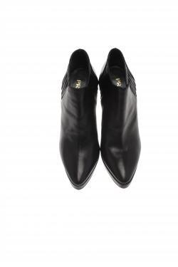 Prada Black Shirred Leather Platform Ankle Boots Size 36.5