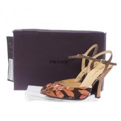 Prada Floral Print Ankle Strap Sandals Size 39.5