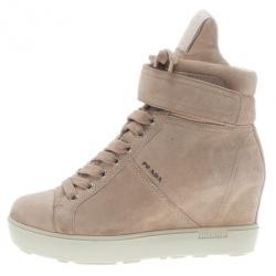 57463d61f9e8 Prada Sport Beige Suede High Top Wedge Sneakers Size 35.5