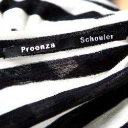 Proenza Schouler Monochrome Striped Cotton Long Sleeve T-Shirt S
