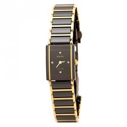 Rado Black Gold Plated Stainless Steel Titanium Ceramic Integral Jubilee 153.0383.3 Women's Wristwatch 18 mm