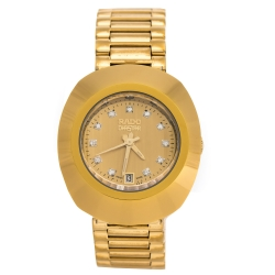 Rado Yellow Gold Tone Carbon Carbide Stainless Steel Diastar R12306303 Women's Wristwatch 27 mm