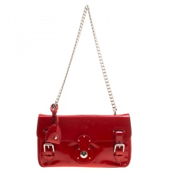 Ralph Lauren Red Patent Leather Ricky Chain Shoulder Bag