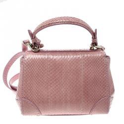 Ralph Lauren Blush Pink Python Mini Tiffin Top Handle Bag