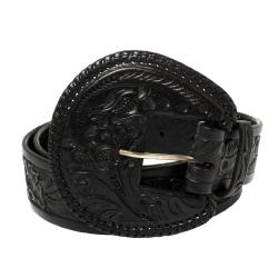Ralph Lauren Black Floral Embossed Leather Buckle Belt XL