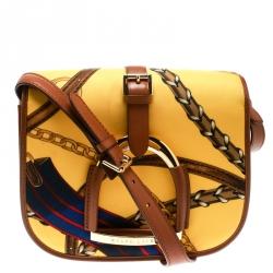 Ralph Lauren Yellow/Brown Chadwick Print Nylon Flap Shoulder Bag