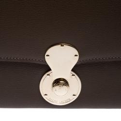 Ralph Lauren Dark Beige Eagle Embossed Leather Ricky Clutch