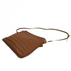 Ralph Lauren Brown Leather Woven Crossbody
