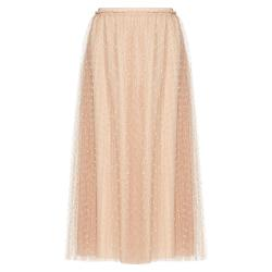 Red Valentino Nude Point d'Esprit Tulle Elastic Waistband Pleated Skirt Small / IT 40