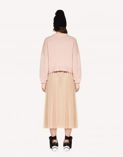 Red Valentino Nude Point d'Esprit Tulle Elastic Waistband Pleated Skirt S