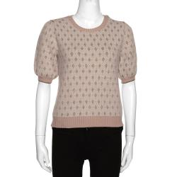 RED Valentino Blush Pink Angora Knit With Lurex Diamonds Jacquard Top Size L