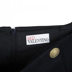RED Valentino Navy Blue Wool Button Detail high Waist Midi Skirt S