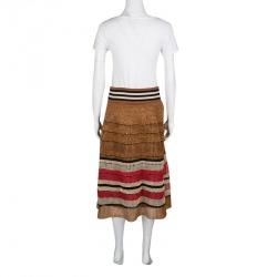 RED Valentino Multicolor Raffia Effect Midi Skirt M