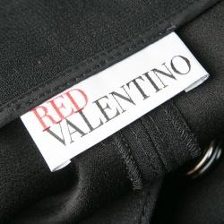 RED Valentino Black Side Button Detail Wrap Midi Skirt M