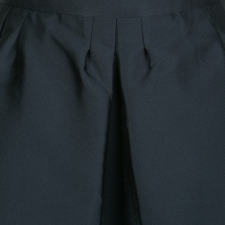 RED Valentino Navy Blue Textured Pleated Flared Skirt M