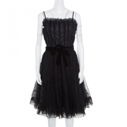 5f28c8769d9 RED Valentino Black Ruffle Detail Sleeveless Belted Tulle Dress M