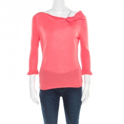 27a08dc5f18 RED Valentino Pink Knit Bow Detail Long Sleeve Top M