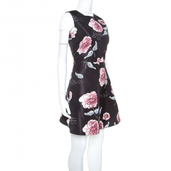 Red Valentino Black Floral Printed Sleeveless Cocktail Dress S