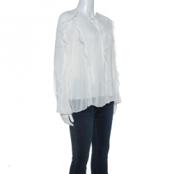 RED Valentino White Silk Ruffle Trim Blouse M