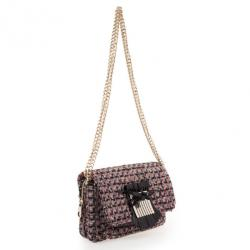 RED Valentino Purple Leather & Tweed Small Shoulder Bag