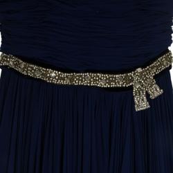 Reem Acra Embellished Belt Strapless Gown M
