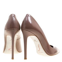 René Caovilla Taupe Leather Pointed Toe Pumps Size 38.5