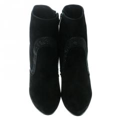 René Caovilla Black Suede Crystal Embellished Platform Ankle Boots Size 38