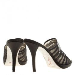 Rene Caovilla Black Chiffon Crystal Embellished Slides Size 38