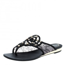 René Caovilla Black Embellished Lace and Satin Flat Sandals Size 38