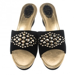 René Caovilla Black Suede Crystal Embellished Wedge Slides Size 42