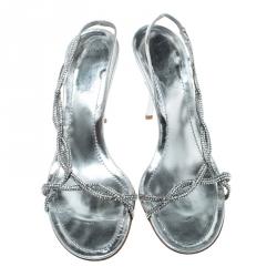 René Caovilla Metallic Silver Leather Crystal Embellished Open Toe Slingback Sandals Size 38
