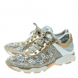 Rene Caovilla Beige/White Lace Flower Embellished Lace Up Sneakers Size 39