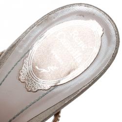 René Caovilla Blush Pink Crystal Embellished Satin Ankle Strap Sandals Size 41