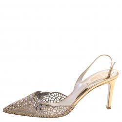 René Caovilla Gold Crystal Embellished Macrame Lace And Leather Slingback Sandals Size 38