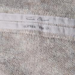 Rick Owens Grey Alpaca Wool Open Front Water Fall Cardigan  S