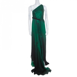 Roberto Cavalli Green and Black Ombre Feather Printed Silk Draped Maxi Dress  L a09337b39