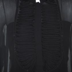 Roberto Cavalli Black Chiffon Wave Pleat Detail Top M