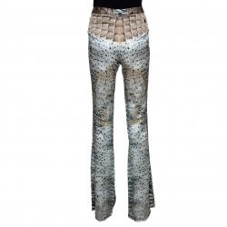 Roberto Cavalli Multicolor Silk Snake Print Flared Pants M