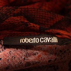 Roberto Cavalli Red Snake Printed Silk Neck Tie Detail Top L