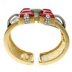 Roberto Cavalli Art Deco Black Enamel Crystal Gold Tone Wide Cuff Bracelet