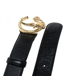 Roberto Cavalli Black Leather Snake Buckle Belt 80cm