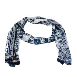 Roberto Cavalli Blue & White Tile Printed Silk Stole