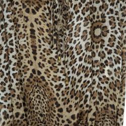Roberto Cavalli Animal Print Dropwaist Gathered Top M