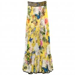 e6da58b95f Roberto Cavalli Yellow Wonderland Printed Silk Flounce Bottom Maxi Skirt S
