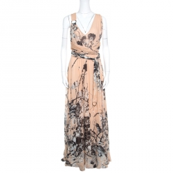 06388ec8d8 Roberto Cavalli Blush Pink Floral Printed Silk Cross Back Belted Maxi Dress  M