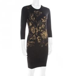 7da3ef5e6bf Roberto Cavalli Black Wool Metallic Gold Floral Printed Sweater Dress S